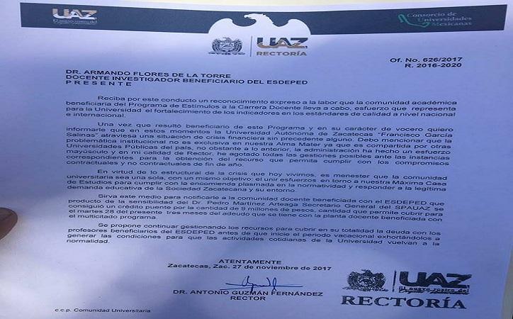 9 de 17 mdp ofrece Rector de la UAZ a docentes para que levanten paro