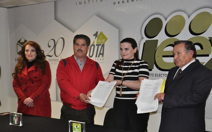 """PRI y PVEM solicitan ante el IEEZ registro del convenio de coalición """"Por Zacatecas"""", ausente PANAL"""