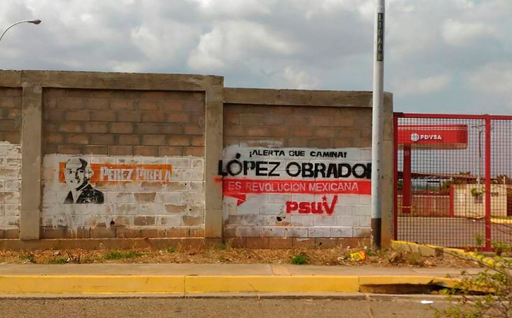 Aparecen pintas de AMLO en Venezuela, dirigencia de Morena acusa guerra sucia
