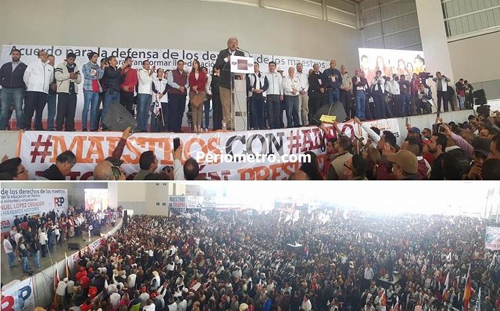 """En Zacatecas ante 12 mil asistentes, pacta AMLO compromiso con magisterio para """"llevarlo a la Presidencia en una elección libre y limpia"""""""