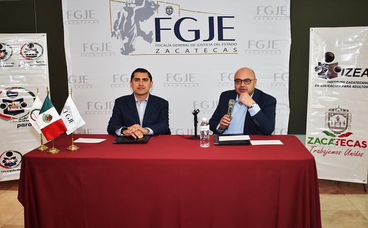 Firma convenio la FGJE y el IZEA para que las mujeres víctimas de violencia culminen su educación básica