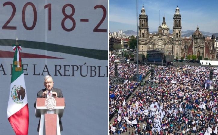 250 mil asistieron a celebración del primer año de López Obrador; 8 mil a la marcha antiAMLO