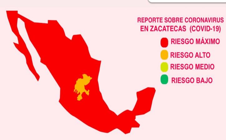 Zacatecas, único estado que tiene semáforo en naranja por Covid-19