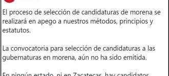 No hay candidatos únicos en Zacatecas, ni convocatoria aún: aclara secretaria general de Morena